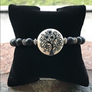 Genuine matte onyx gemstones beads tree of life